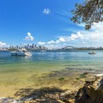 Boat docked in Athol Bay with views of Sydney Harbour, Mosman.